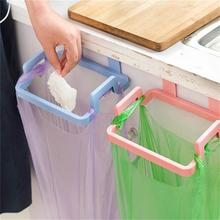 1 Pcs Kitchen Door Back Portable Garbage Bag Bracket Home Cabinet Door Rear Rag Hanging Rack Trash Can 4 Color Choose