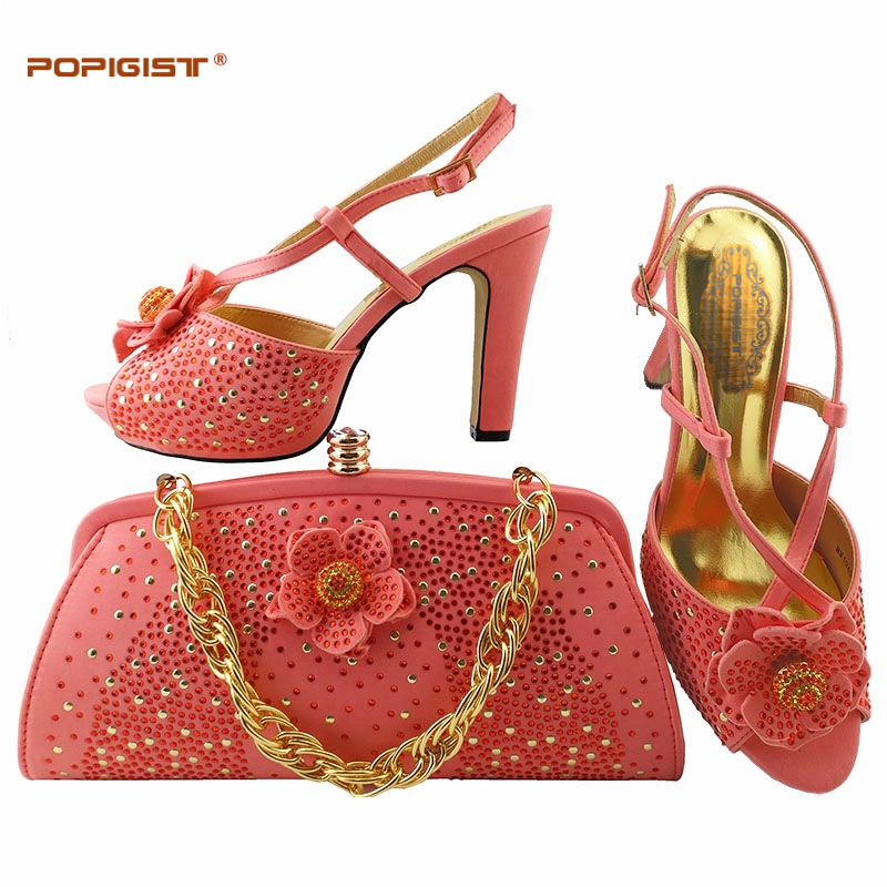 3473c3967e35 Wedding bridal wearing Coral color Shoes and bags to match Decorated with  Rhinestone African Women Italian