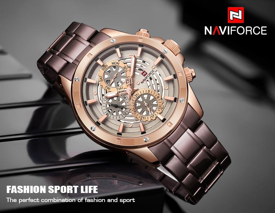 NAVIFORCE Mens Sports Watches Top Luxury Brand Men Fashion Casual Quartz 24 Hours Date Wrist Watch Man Military Waterproof Clock