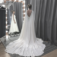 Soft Satin Wedding Cape Long Shawls With Lace Appliques Beaded Luxury Bridal Wrap DJ108
