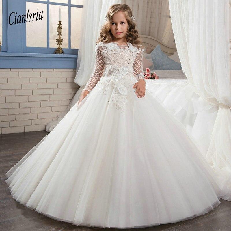 Robes de première Communion blanches pour filles manches longues col rond robe de bal en dentelle robes de demoiselle d'honneur pour les mariages robes de noël