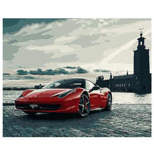 WONZOM Sports Car Painting By Numbers Bike Oil Cuadros Decoracion Acrylic Paint On Canvas Modern Wall Pictures For Home