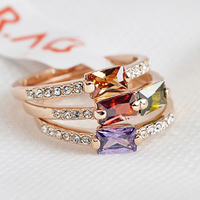 Italina 3 Pcs Set Wedding Rings For Women Fine Jewelry Colors Austrian Crystals 18K Gold Plated