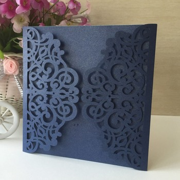 35pcs Laser Cut 250gsm Pearl Paper Elegant Hollow Navy Blue Color Lace Wedding Party Birthday Invitation Card Party Supplies