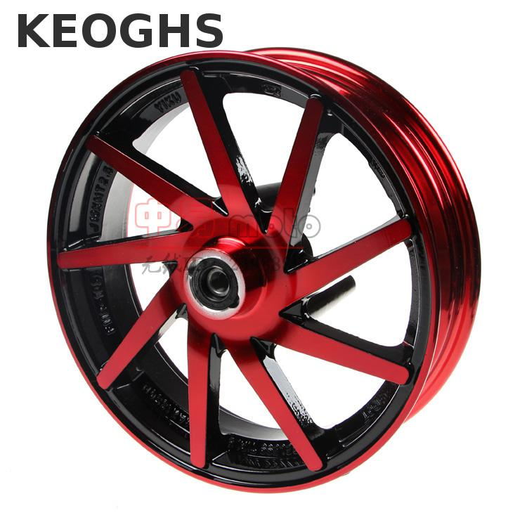 цена на Keoghs Motorcycle Front Wheel Rim 10 Inch/57mm Brake Disc Install/10mm Axle Hole For Yamaha Scooter Force Rsz Jog Modify