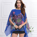 2015 New Hot Sale  Fashion Print Pattern Chiffon Women Blouse Bat Sleeve Shirt Tops 5 Colors