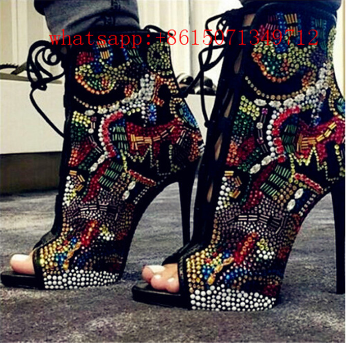 Summer Hot Rhinestones Crystal Covered Comic Open Toe Lace Up High Heel Woman Boots Mixed Colors Crystal Stiletto Sandals Boots oreimo comic anthology
