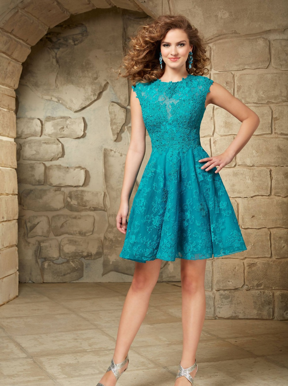2015 Hot Teal Short Sleeve Lace Homecoming Dress Gown Open Back ...