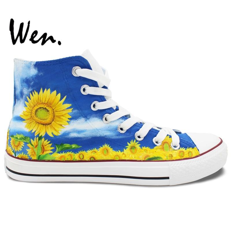 Prix pour Wen Design Original Personnalisé Peint À La Main Sneakers Bleu Ciel Nuage De Tournesol High Top Toile Chaussures Hommes Femmes de Cadeaux D'anniversaire