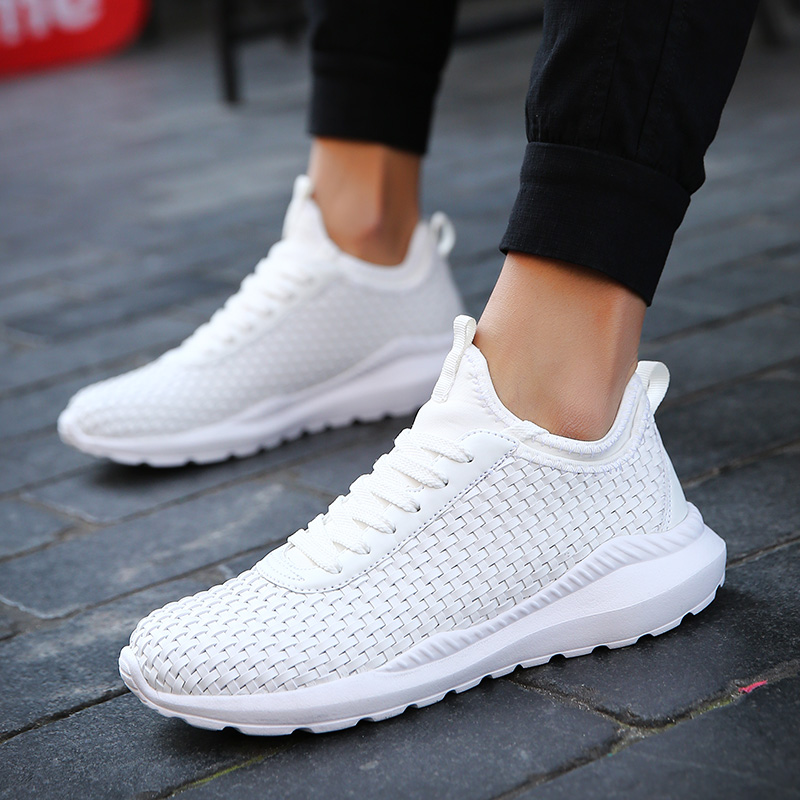 Respirant Baskets Mode Décontractées Tissées Fond Hommes Épais Adulte Doux Pour Chaussures blanc Nouveau Confortable Noir 54AjL3qR