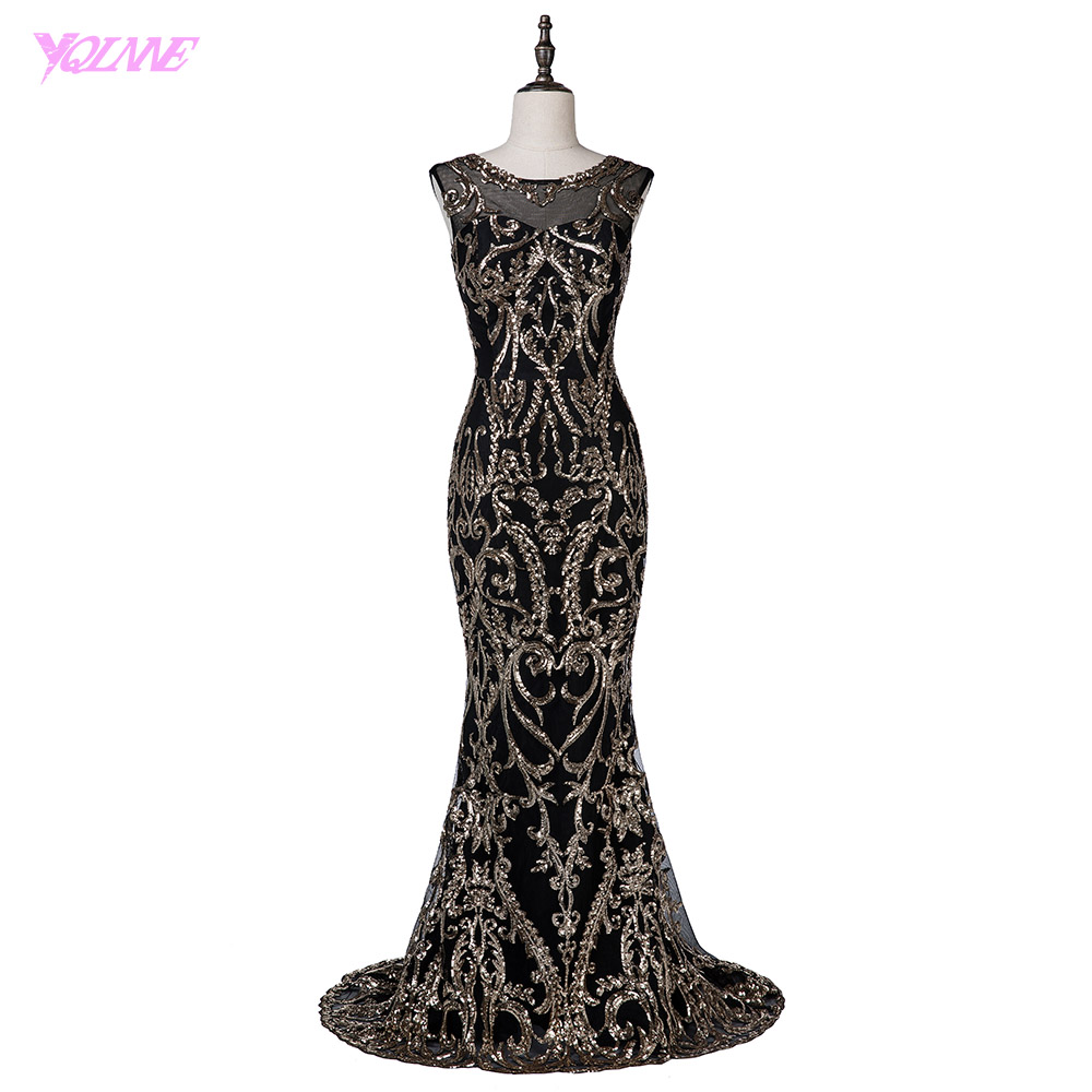 YQLNNE 2018 Fashion Black Evening font b Dress b font Mermaid Gold font b Sequins b
