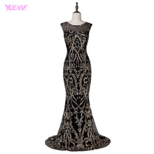 YQLNNE 2018 Fashion Black Evening Dress Mermaid Gold Sequins Sleeveless Prom Gown Vestido De Festa