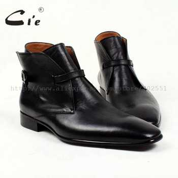 cie square plain toe solid pebble grain black calf leather boot 100%genuine leather breathable outsole bespoke men's boot  A88 - DISCOUNT ITEM  0% OFF All Category