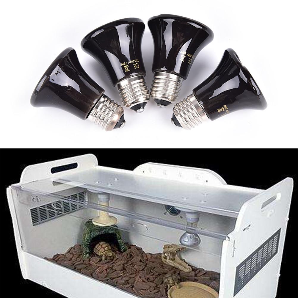 1 Stück Schwarz 25 Watt 50 Watt 75 Watt 100 Watt Pet Birne Miniatur Infrarot Keramik Launcher Für Reptilien Keramik + Legierung