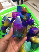 Beautiful colorful Purple Yellow Blue Aura Quartz Crystal Titanium Bismuth Silicon Cluster Rainbows Natural Stones and Minerals(China)