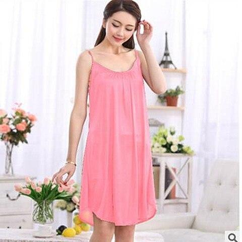 Women night dress sleepwear sexy spaghetti strap loose home wear nightgowns female plus size nightshirts XXL 3XL 8 colors A86 1