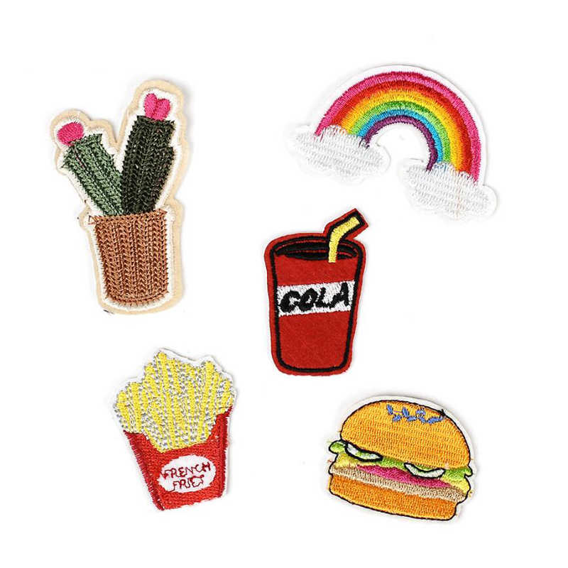 1 PC Alloy Brooches Cartoon Rainbow Cola Frech Fries Cloth Sticker Backpack Student Clothes Badge Bag Decor Brooch Badge