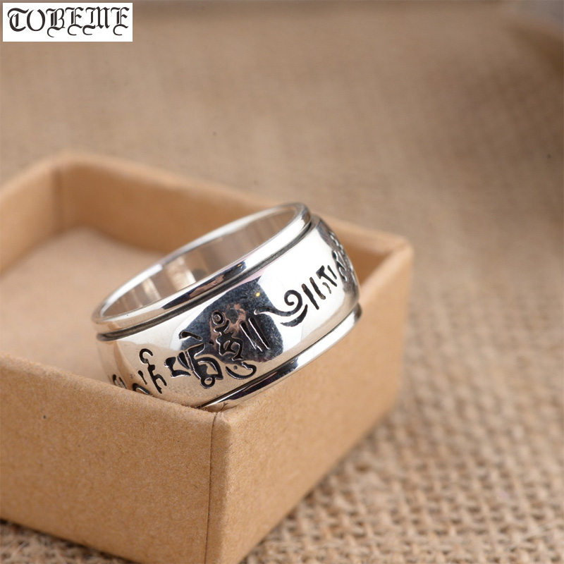 100% 925 Silver Tibetan Six Words Proverb Spinning Ring 925 Sterling Buddhist OM Mani Turning Ring Silver Good Luck Man Ring