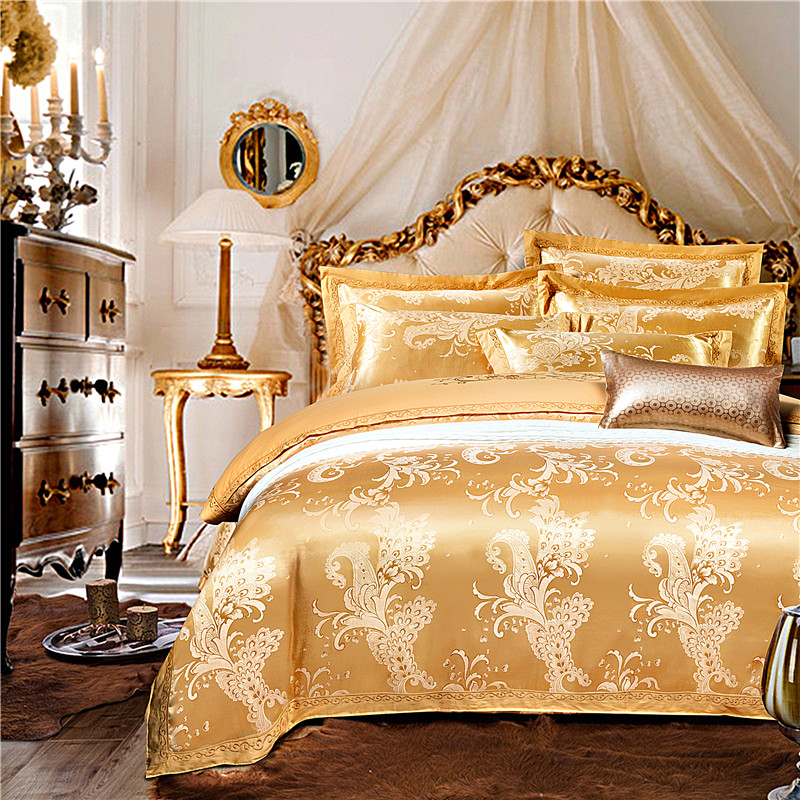 IvaRose 4pcs Luxury jacquard bedding sets silk and cotton  bed linens with duvet cover+bedsheet+pillow case bedding setIvaRose 4pcs Luxury jacquard bedding sets silk and cotton  bed linens with duvet cover+bedsheet+pillow case bedding set