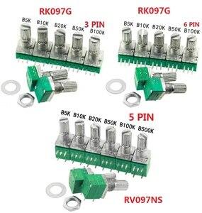 Free Ship 5PCS RK097G RK097N B5K B10K B20K B50K B100K B500K RV097NS Double potentiometer 3pin 5pin 6pin 3/5/6/P/Feet/pin 15mm(China)