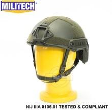 ISO 인증 MILITECH OD NIJ 레벨 IIIA 3A FAST OCC 라이너 High XP Cut 방탄 Aramid 탄도 헬멧, 5 년 보증