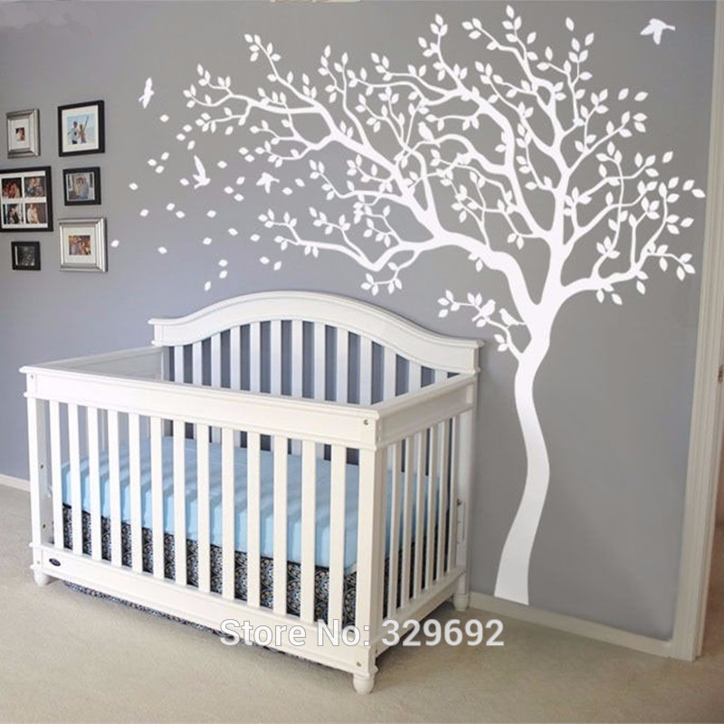2018 HOT Huge White Tree Wall Decal Sticker Wall Decals Nursery Tree Wall Stickers For Kids Rooms 213X210CM Wall Tattoo Gift