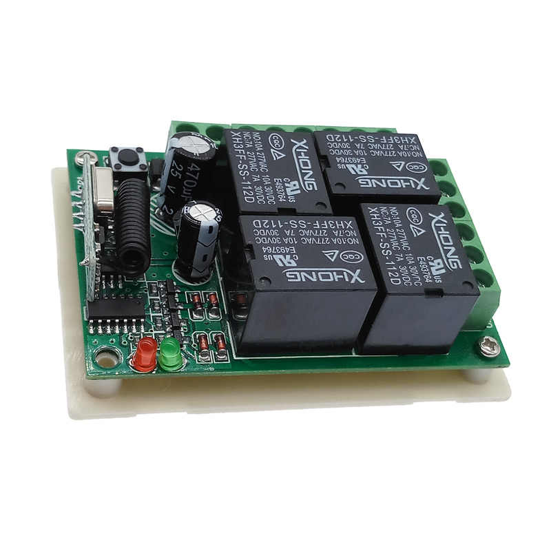 12VDC Remote Kontrol Nirkabel Switch 4 WAY 433M Hz Relay Modul Penerima RF 4NO + 4NC Controller
