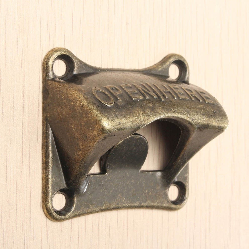 Vintage Bronze Wall Mounted Opener Wine Beer Soda Glass Cap Bottle Opener Kitchen Bar Gift Zinc Alloy About