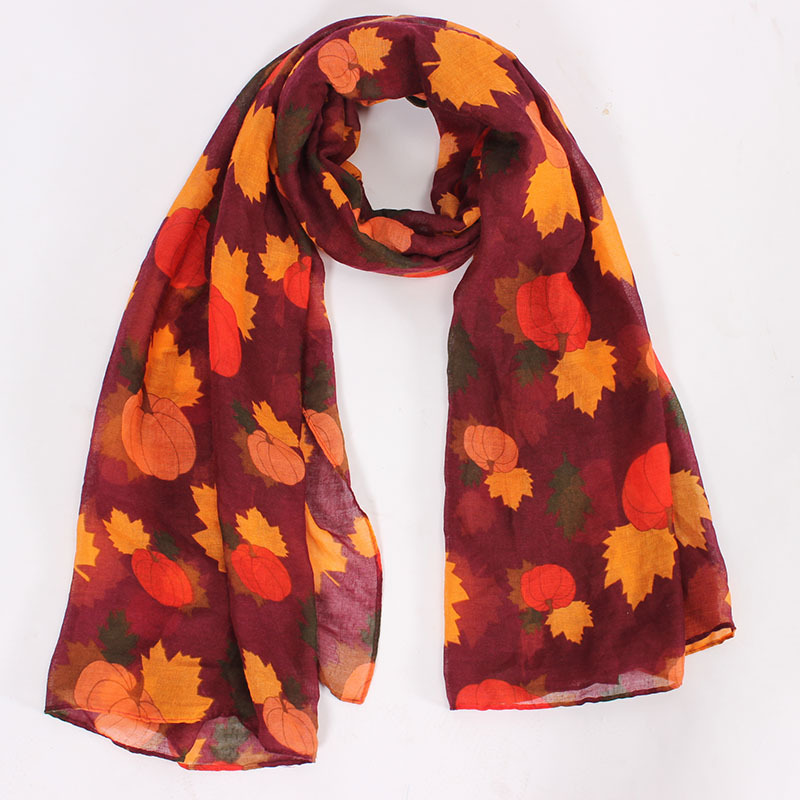 2018 Newest Halloween   Scarf   Shawl Pumpkin And Maple Print   Scarves     Wrap   Hijab 2 Color 10pcs/LOT Free Shipping