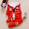 Monkids 2016 outono inverno longo-manga três-piece suit dos desenhos animados de algodão conjuntos de roupas meninas da criança crianças meninos roupas
