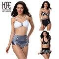 Lo nuevo de La Vendimia de Cintura Alta Mujeres Bikini Franja Retro Pin Up biquini empuja hacia arriba bikinis set halter del punto de polca femenino nuevo plavky
