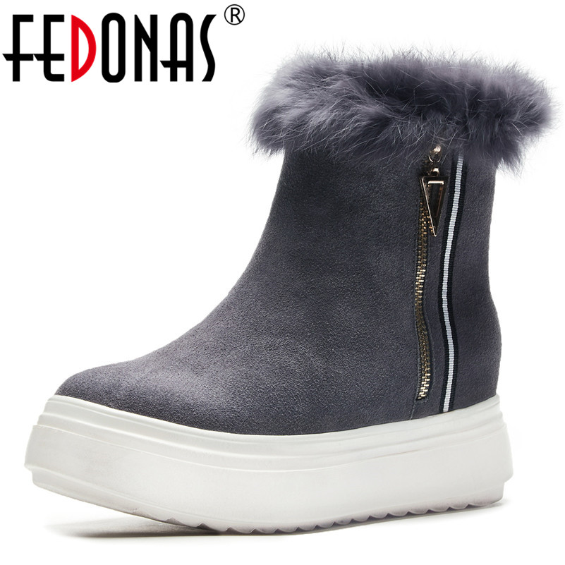 все цены на FEDONAS 2019 Women Cow Suede Ankle Boots Platforms Winter Warm Snow Boots High Quality Round Toe Casual Shoes Woman Basic Boots