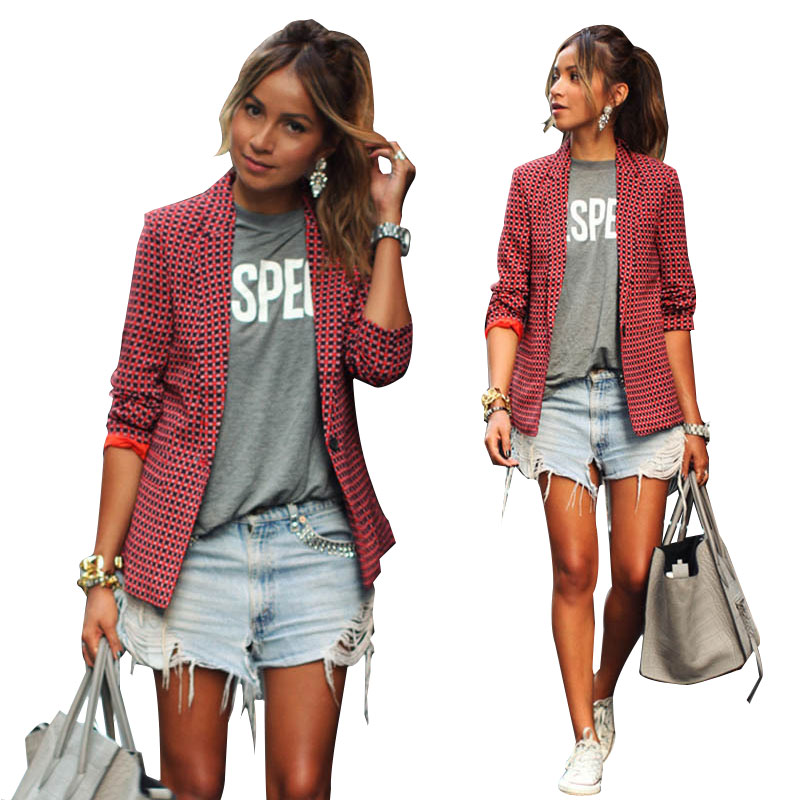 2017 New Women Spring Autumn Casual Basic Red grid printed Plaid Blazer Coat Single button Top