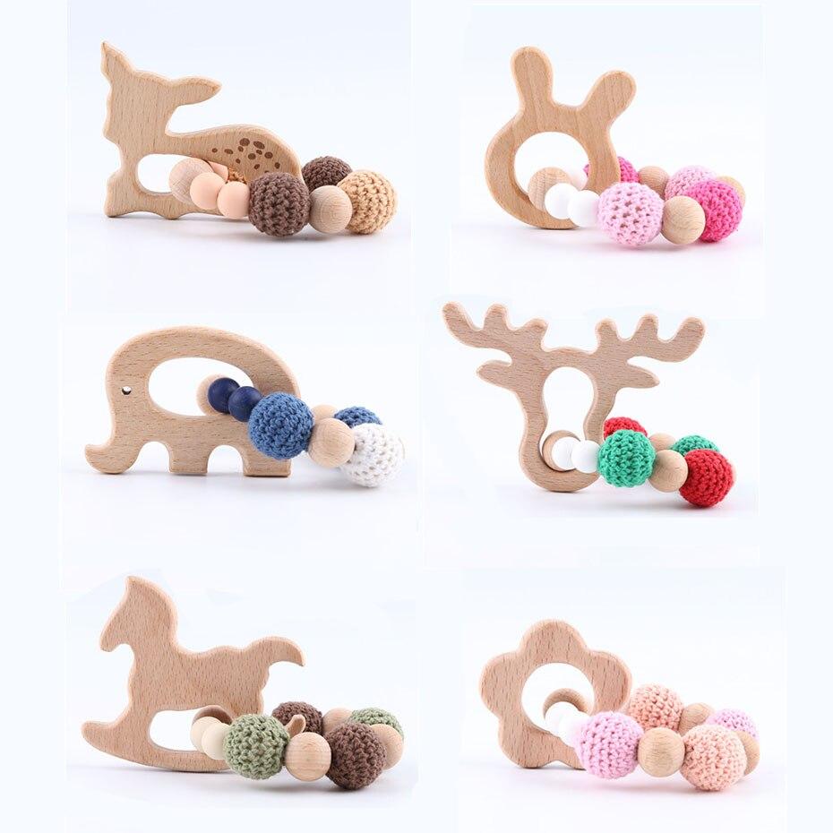 Купить с кэшбэком Let's make Wood Teether Bracelet 1pc Food Grade Beech Animal Wooden Sika Deer Crochet Beads DIY Jewelry Teething Accessories Toy