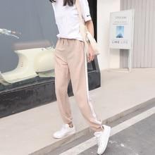 Fashion Breathable Summer Women Ankle-Length Pants Elastic waist loose Cotton Linen pants Vintage color Side Striped harem