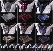Festa de bolso clássico quadrado casamento floral & paisley & xadrez & bolinhas masculino seda cravat ascot gravata lenço conjunto # b2