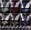 Floral Paisley Ascot seda Pocket pañuelo cuadrado Jacquard informal vestido bufandas de la bufanda corbatas partido tejido Ascot pañuelo Set B2