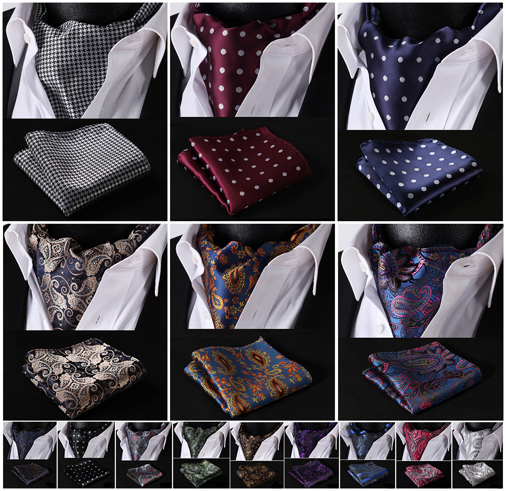 Partei Klassische Einstecktuch Hochzeit Blumen & Paisley & Plaid & Polka Dot Männer Silk Halstuch Ascot Krawatte Taschentuch Set # B2