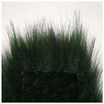 Dark green faux fox fur plush high artificial hair fabric