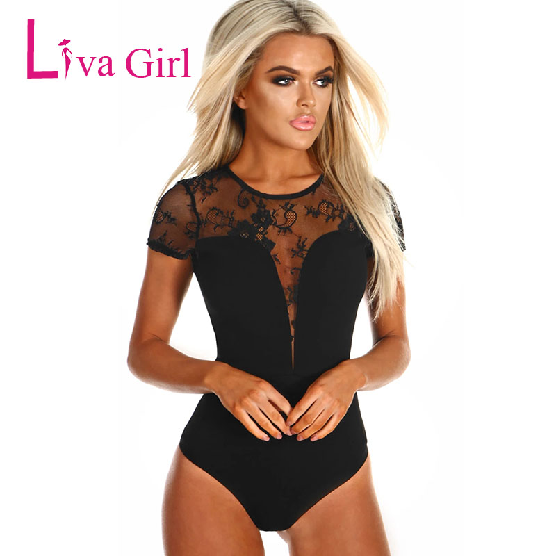 LIVA GIRL Black Sexy Transparent Lace Bodysuit Women O Neck Short Sleeve Bodycon Jumpsuit Clubwear Romper Cothing For Body Tops