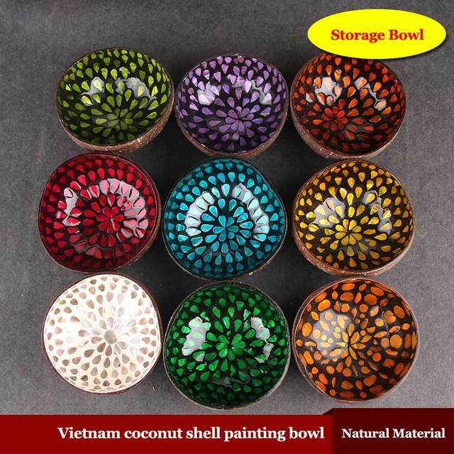 Coconut Shell Storage Bowl Natural Color Keys Mosaic Candy Water Paragraph Creative Decorative