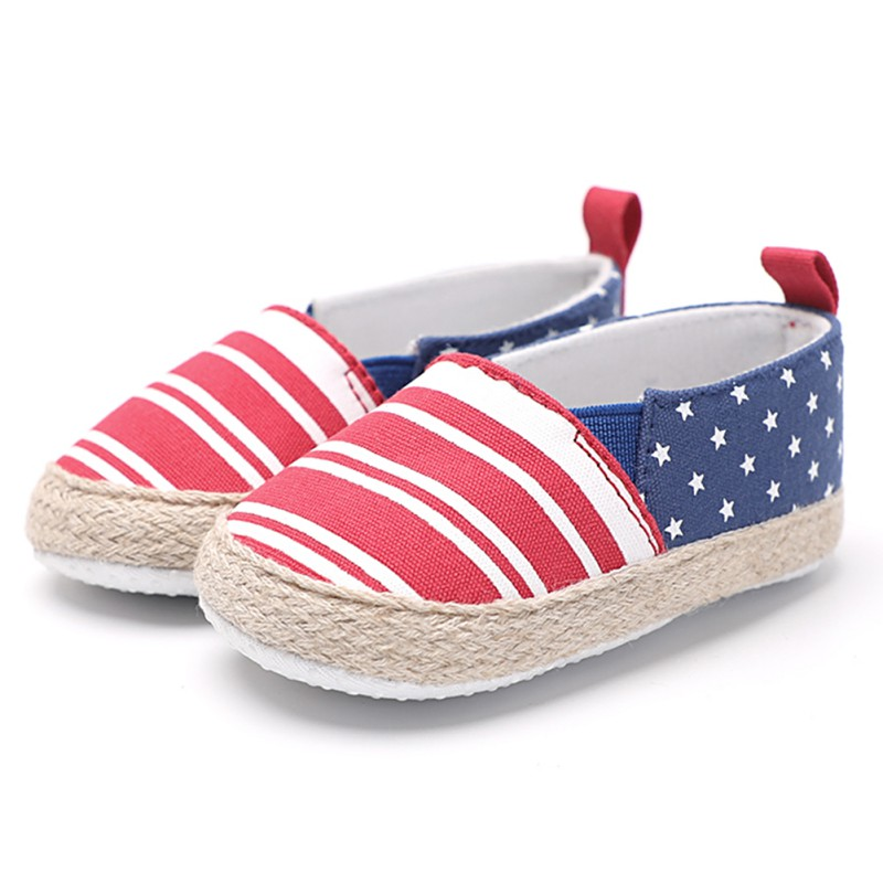Baby Boy Girl Cotton Shoes The First Walker Newborn First Walkers Pacers Baby Shoes Stripe Stars Stitch Casual Shoes