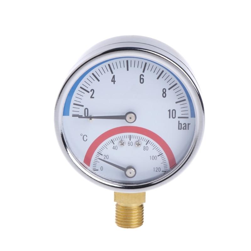 10 Bar Temperature Pressure Gauge Meter G1/4 Thread 2 in1 Thermometer Monitor #0616 super speed v0169 fashionable silicone band men s quartz analog wrist watch blue 1 x lr626