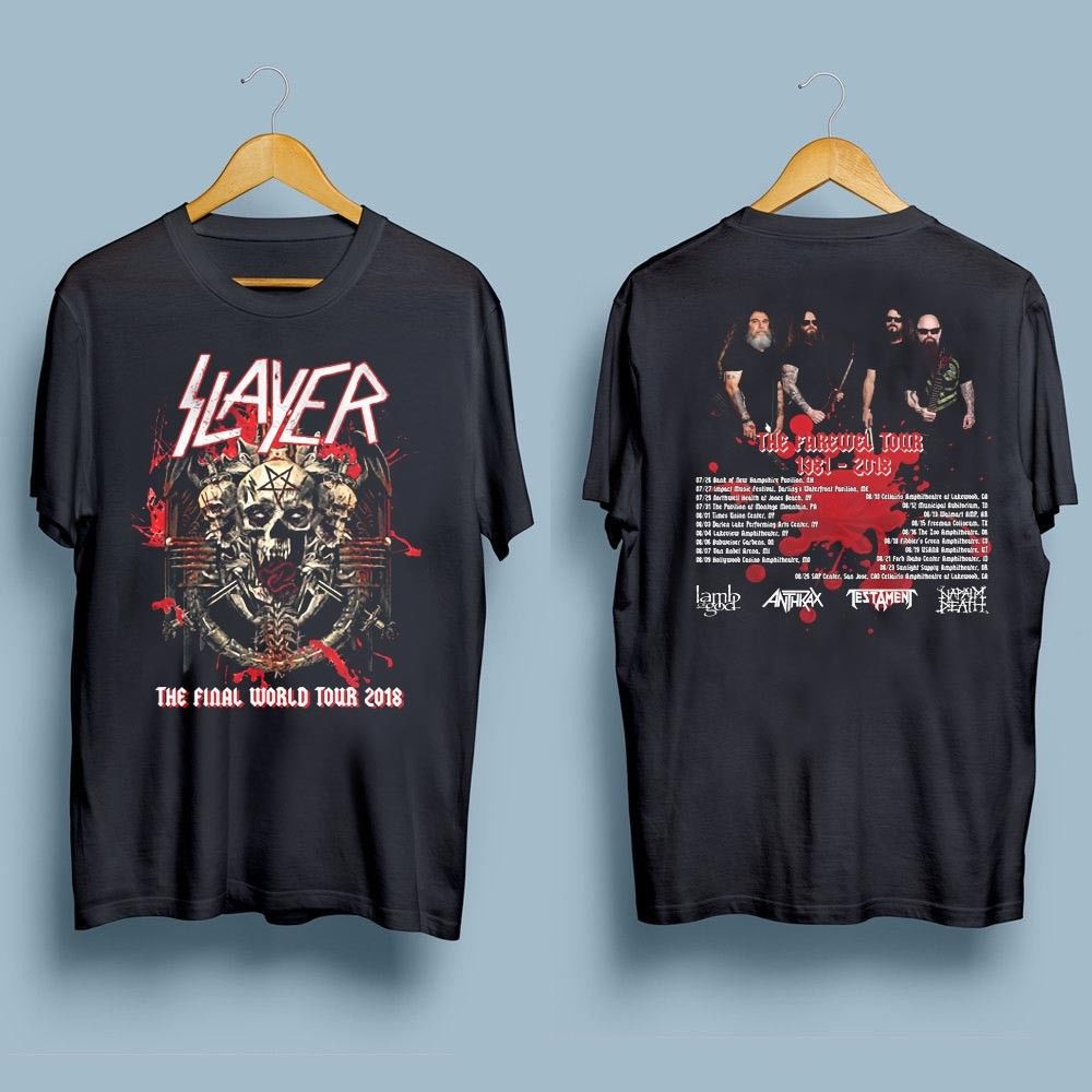 Slayer Final Farewell World Tour 2018   t     shirt   man two sides casual cotton tee USA size S-3XL NEW