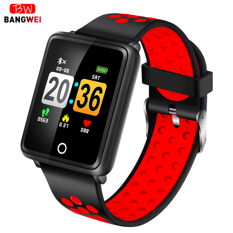 Watches Bangwei New Sport Watch Led Color Touch Screen Social Information Reminder Smart Wristband Women Smart Bracelet For Android box