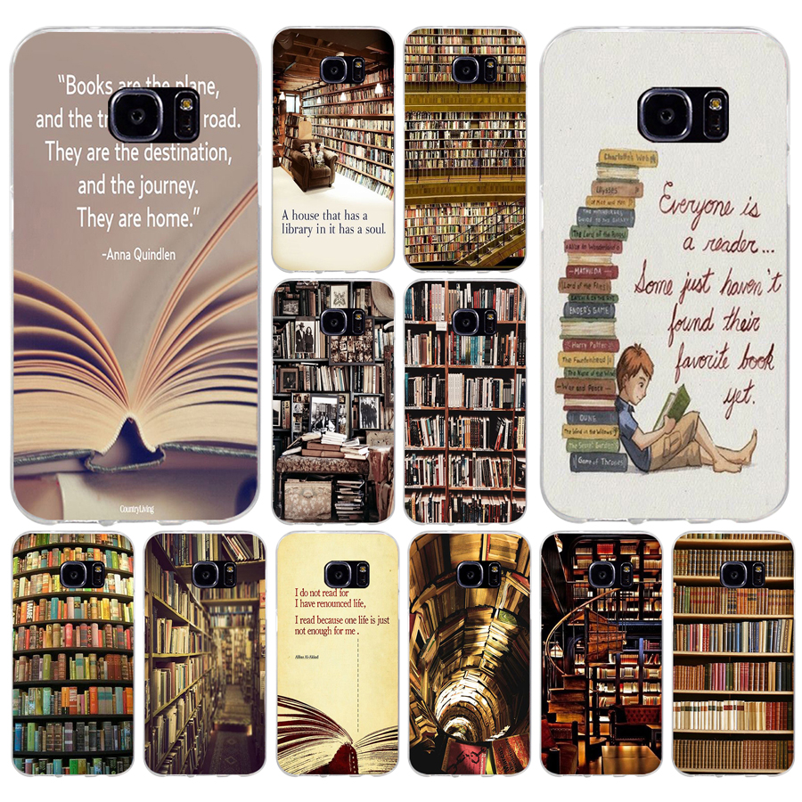 139 H Retro Boek Plank Boekenplank Bibliotheek Zachte Tpu Silicone Cover Case Voor Samsung Galaxy S6 S6 S7 Edge S8 S9 Plus Case Groot Assortiment