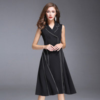 Women Autumn Dress Office Ladies Double Breasted Black Red White A Line Dress Sleeveless Turn Down