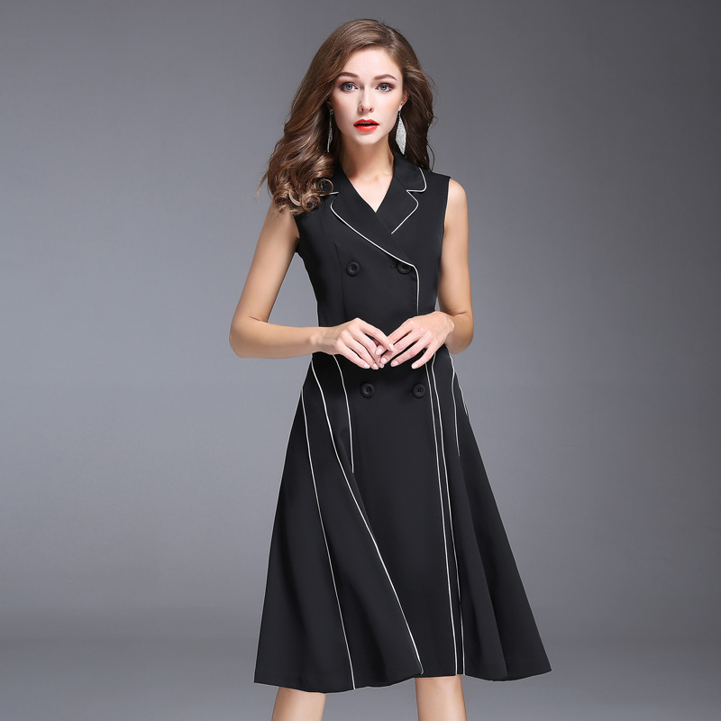 Women Autumn Dress Office Ladies Double Breasted Black Red White  A Line Dress Sleeveless Turn Down Collar Slim Dress
