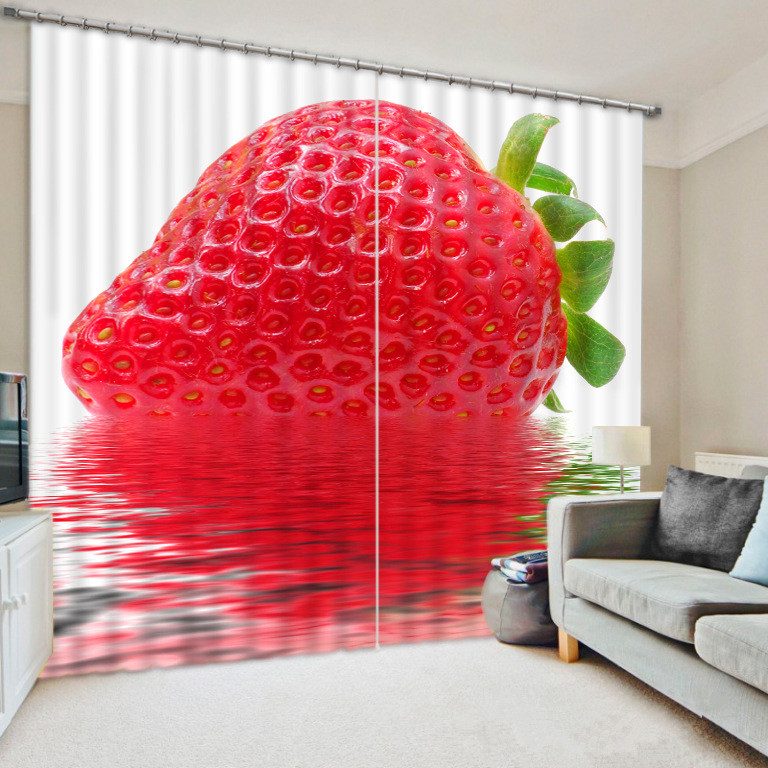 3D The Art Photo Of Strawberry Window Curtain For Living Room