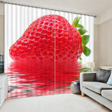 3D The Art Photo Of Strawberry Window Curtain For Living Room(China)